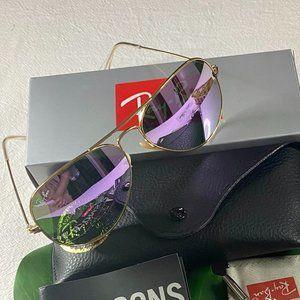 NWT Rayban 3025 Purple Aviators Sunglasses 58mm